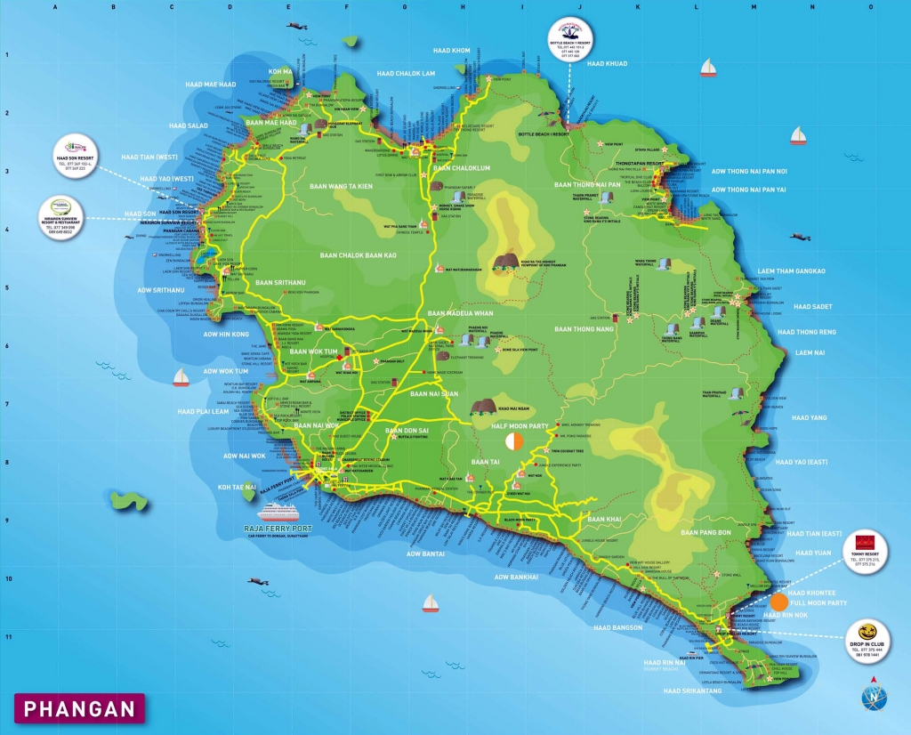 สถานที่ท่องเที่ยวที่น่าสนใจ - travel map of koh phangan