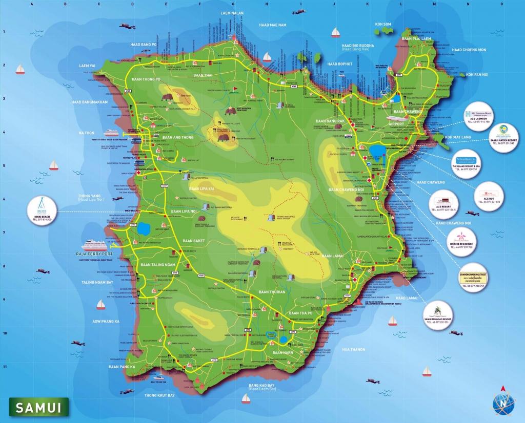 สถานที่ท่องเที่ยวที่น่าสนใจ - travel map of koh samui